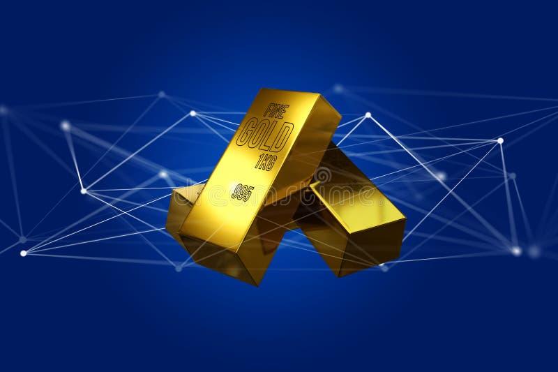 Миллиард золота shinning перед соединением - 3d представляют стоковые изображения rf