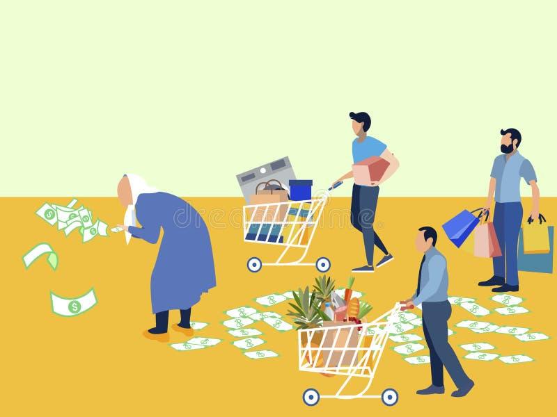 Миллионер бабушки разбрасывает деньги Управляемые ассистенты покупают пенсионера, электрический, одежды и еды ? бесплатная иллюстрация