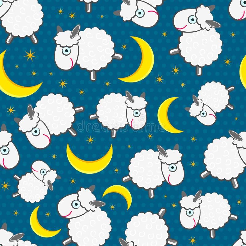 Милое белое Sheeps на картине ночи безшовной иллюстрация вектора