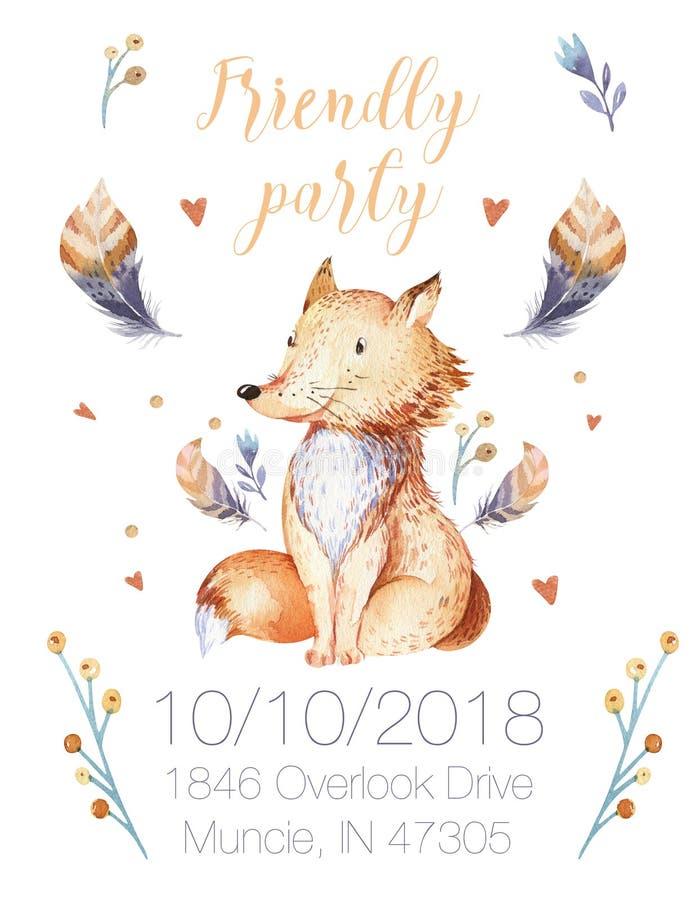 Милое богемское животное для детского сада, питомник лисы шаржа младенца полесья изолировало иллюстрацию леса украшения для бесплатная иллюстрация