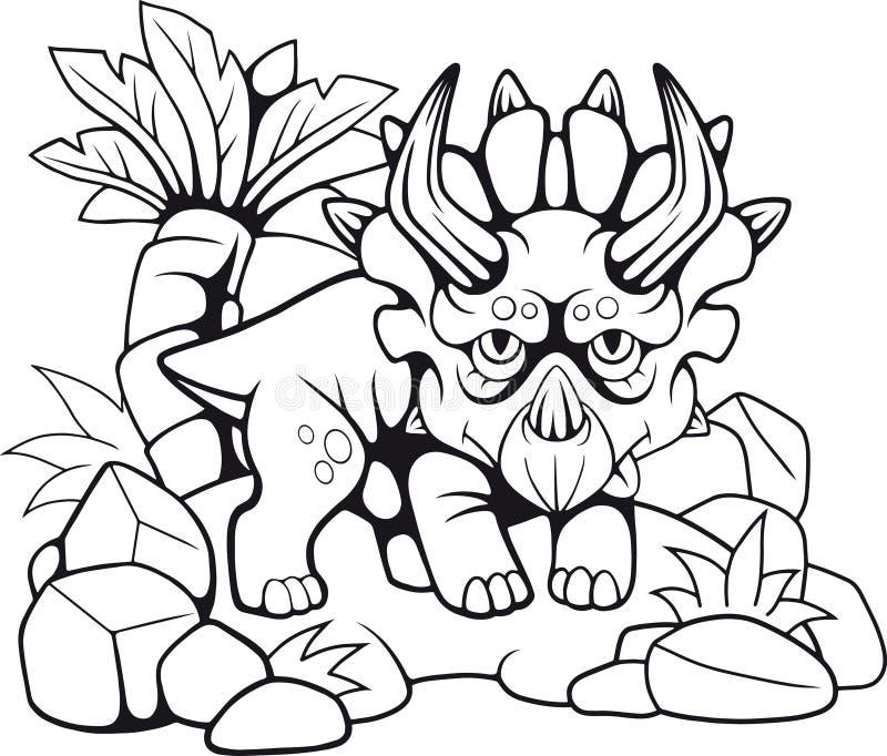 Милое доисторическое трицератопс, смешная иллюстрация иллюстрация штока