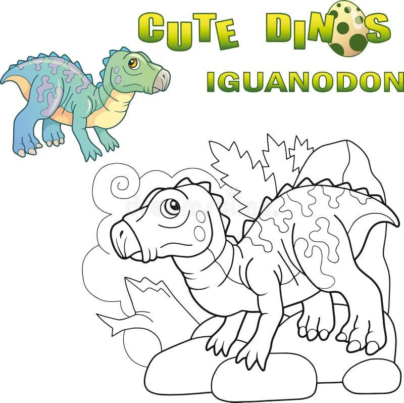 Милое доисторическое iguanodon динозавра, смешная иллюстрация иллюстрация вектора