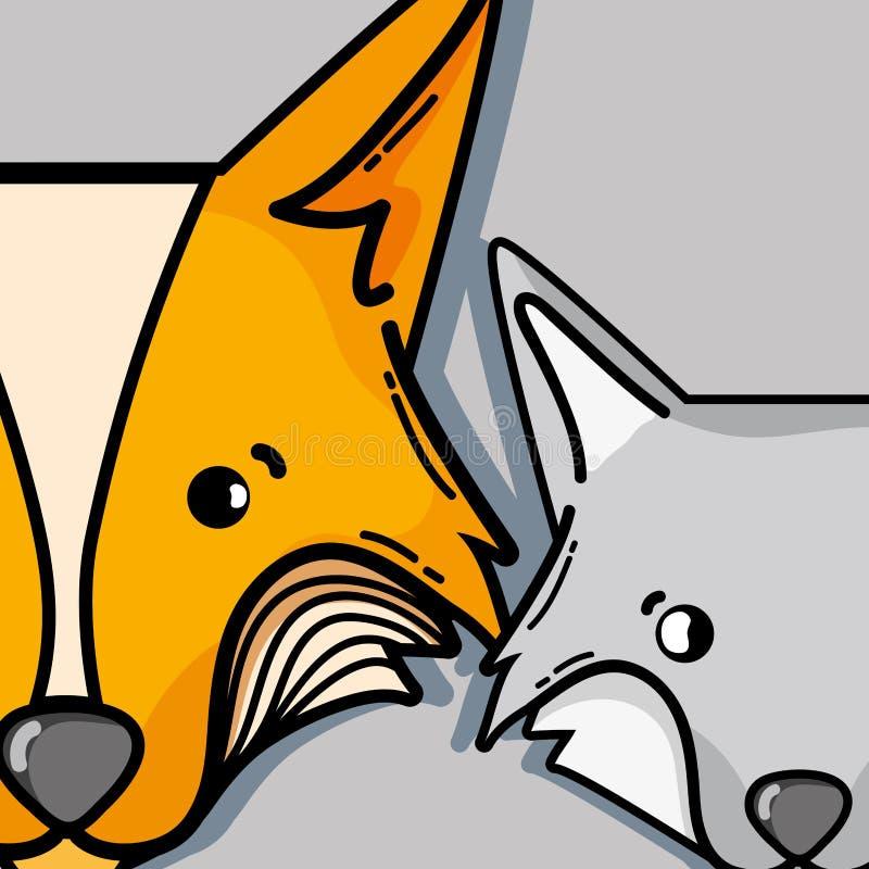 Милое животное лисы и волка фауны природы бесплатная иллюстрация