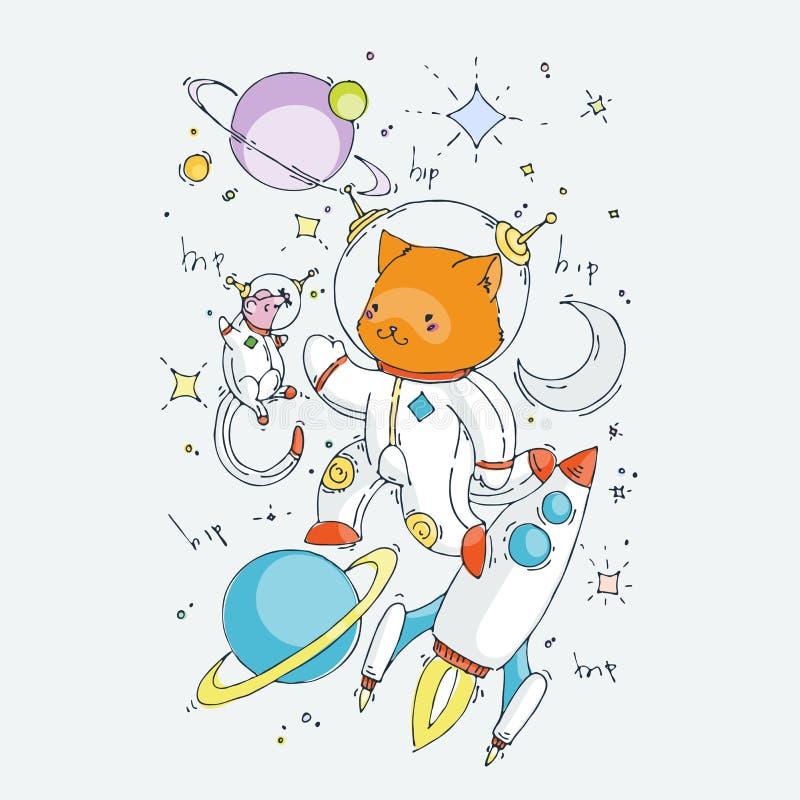 Милое животное мультфильма Иллюстрация искусства зажима вектора для детей конструирует, карты, печати, книжка-раскраски иллюстрация вектора