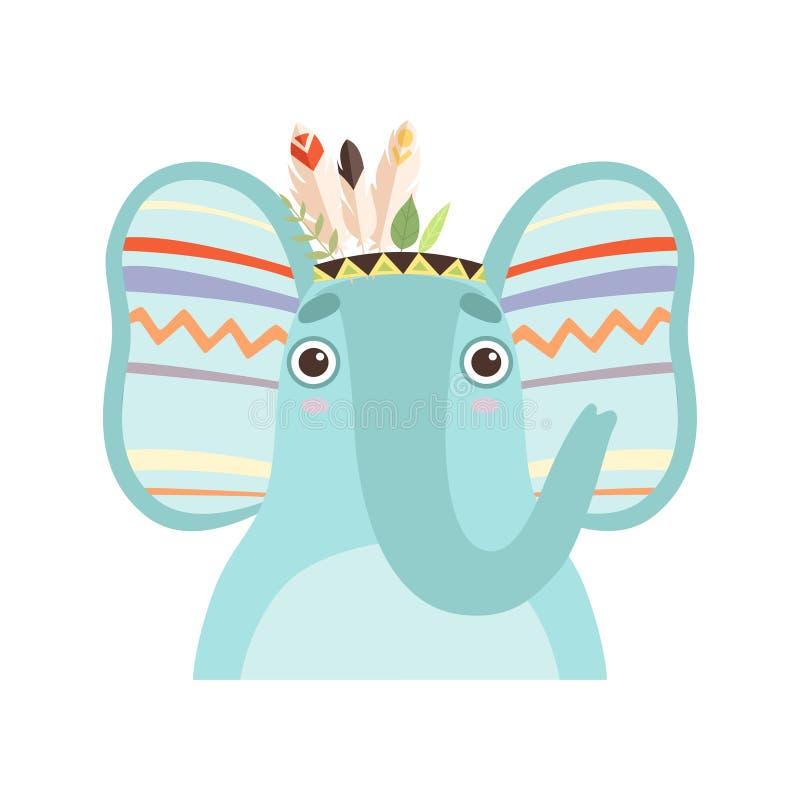 Милое животное слона нося индийский традиционный племенной головной  иллюстрация штока