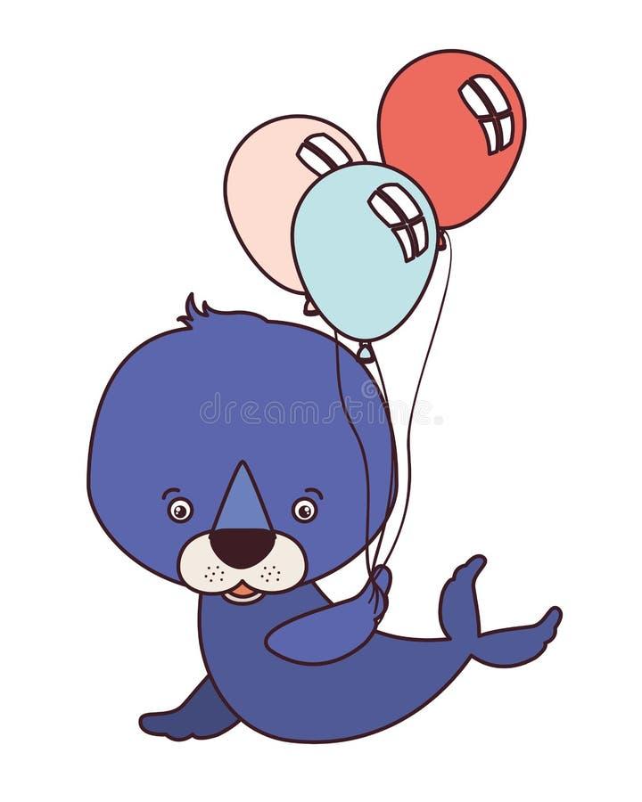 Милое животное уплотнения с гелием воздушных шаров иллюстрация вектора