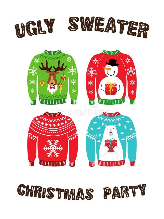 Милое знамя для уродской рождественской вечеринки свитера иллюстрация штока