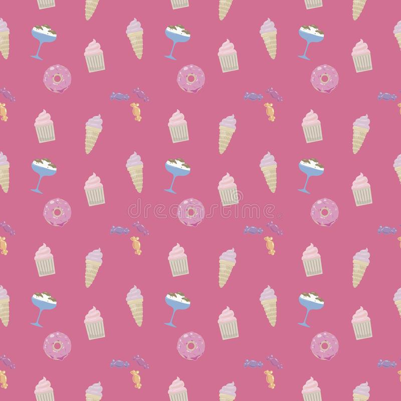 Милое конфеты пирожного мороженого донута помадок лоснистое красочное на насыщенной картине вектора яркой розовой предпосылки без иллюстрация штока