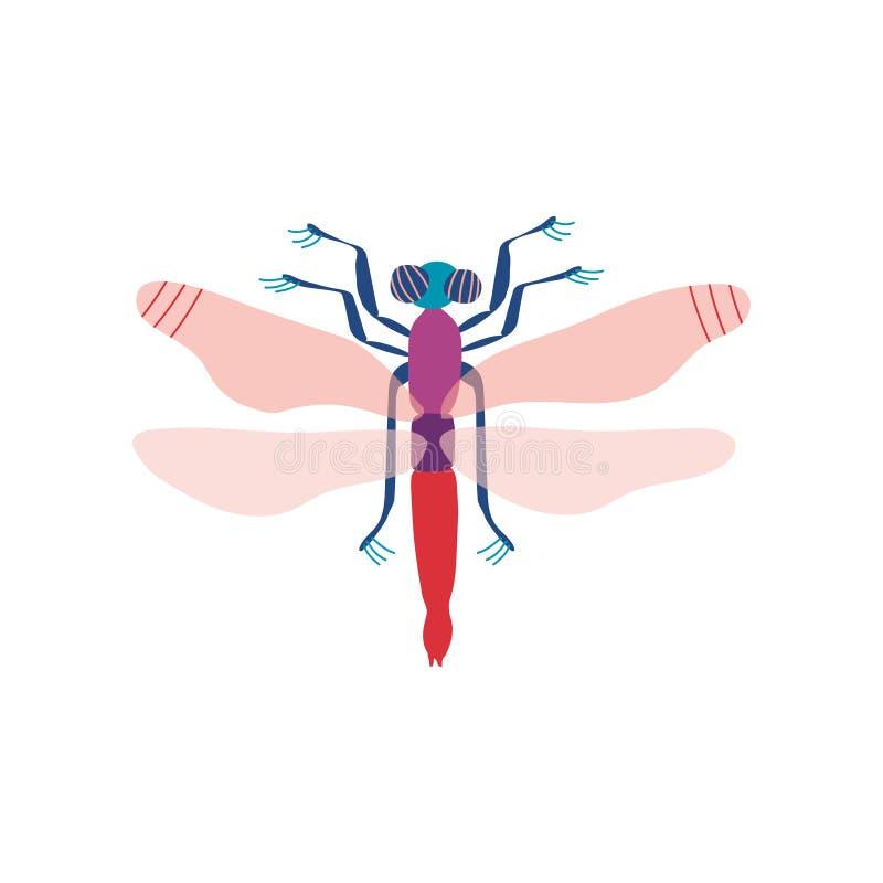 Милое красочное насекомое Dragonfly, иллюстрация вектора взгляда сверху бесплатная иллюстрация