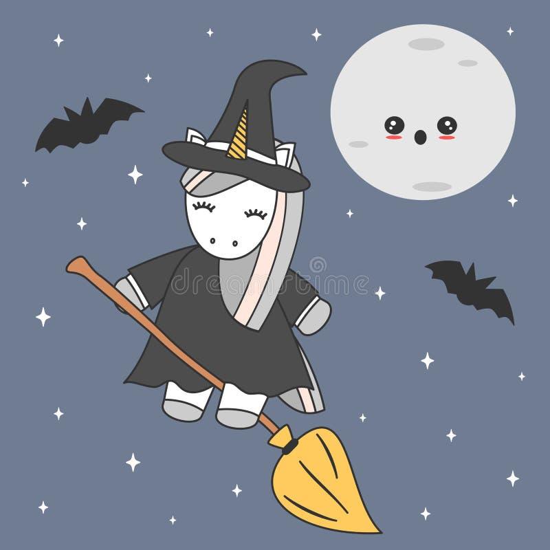 Милое милое летание ведьмы единорога шаржа на венике в иллюстрации вектора хеллоуина звездной ночи иллюстрация штока