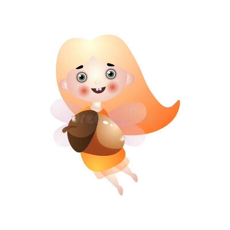Милое летание девушки феи светлых волос с жолудем иллюстрация вектора