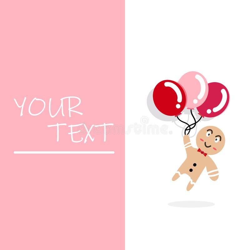 Милое летание мультфильма человека с воздушными шарами открыткой, крышкой, тетрадью иллюстрация штока