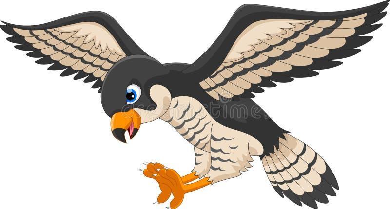 Милое летание шаржа сокола Иллюстрация птицы сокола иллюстрация вектора