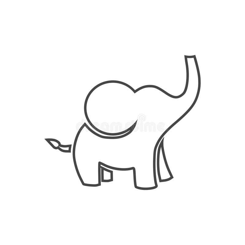 Милое маленькое одно, значок слона младенца иллюстрация вектора