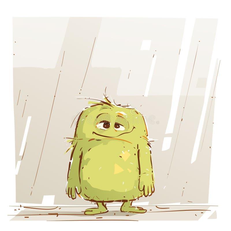 Милое маленькое чудовище грустно иллюстрация вектора