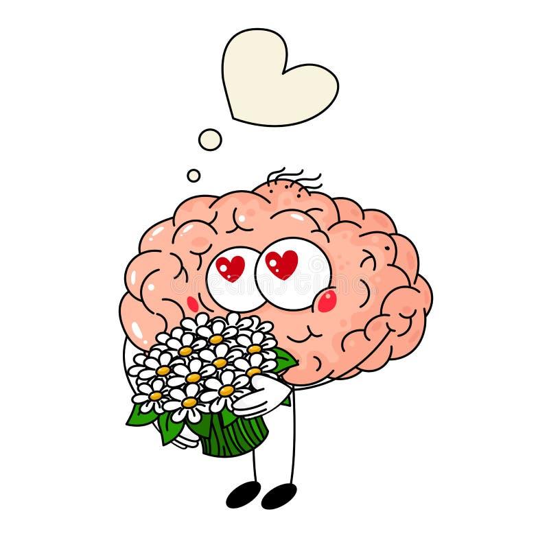 Милое падение человеческого мозга в любовь, с букетом цветков на белой предпосылке бесплатная иллюстрация