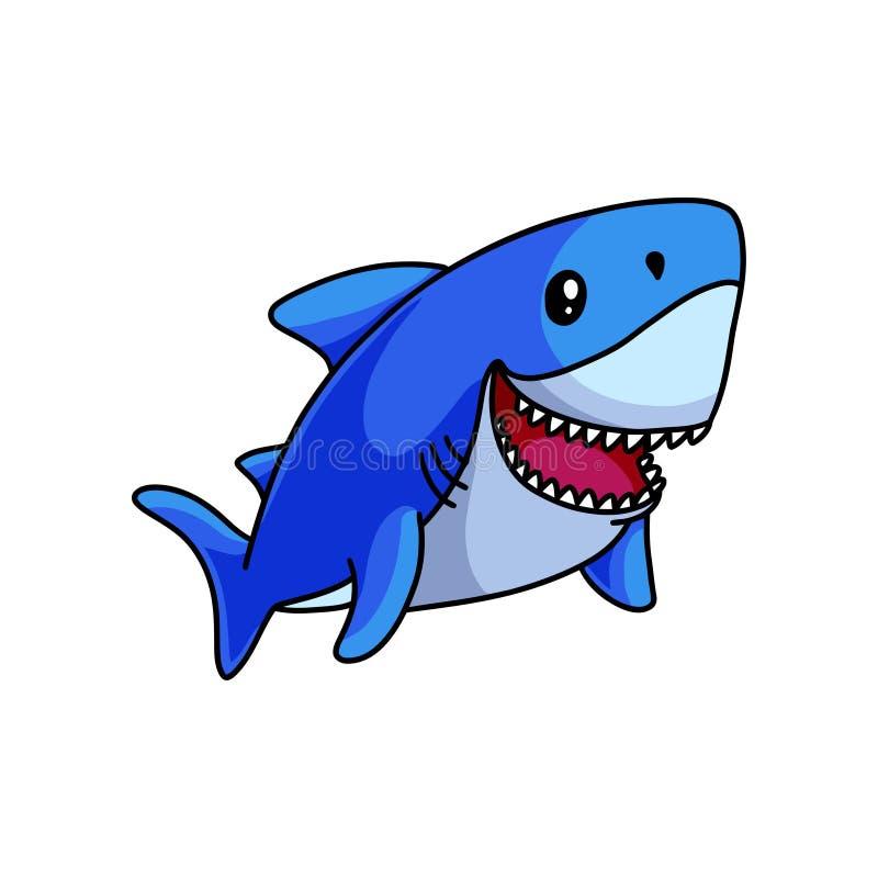 Милое плавание голубой акулы в глубине океана и улыбке иллюстрация штока