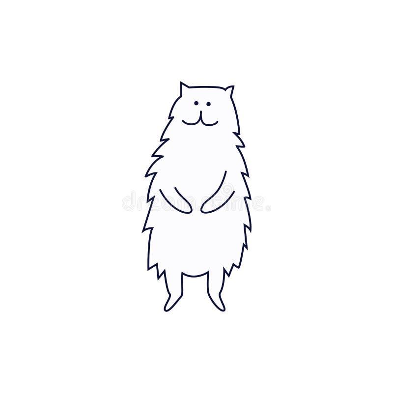 Милое положение кота или котенка на задних ногах вручает вычерченный  иллюстрация вектора