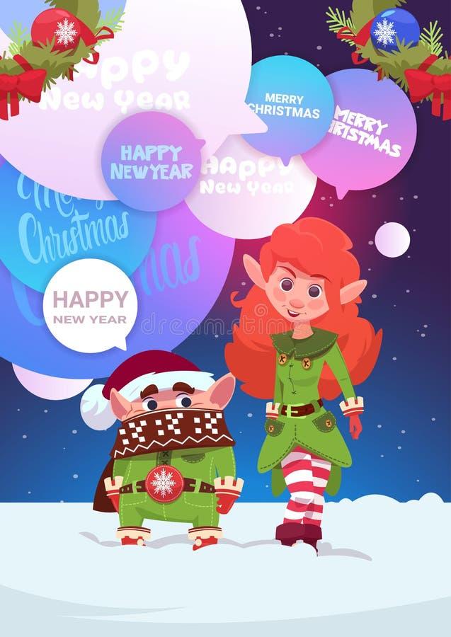 Милое приветствие пар Elfs с с Рождеством Христовым и счастливой карточкой праздника Нового Года иллюстрация штока
