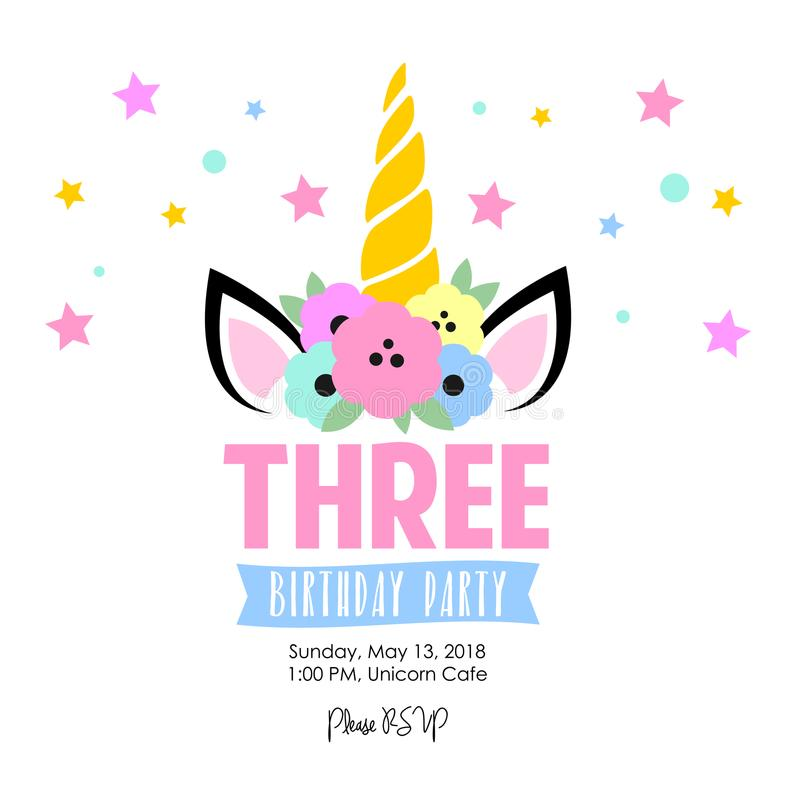 Милое приглашение дня рождения с единорогом бесплатная иллюстрация