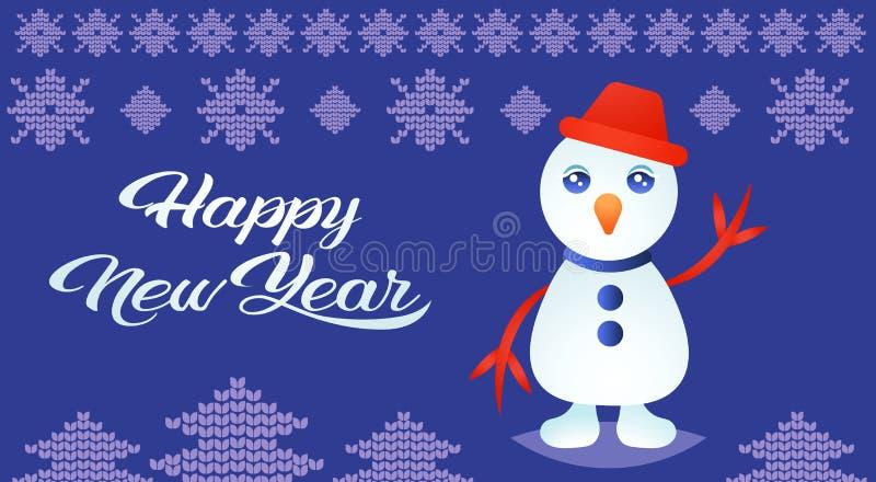 Милое развевая приветствие предпосылки украшения орнамента праздников Нового Года веселого рождества снеговика счастливой связанн иллюстрация вектора