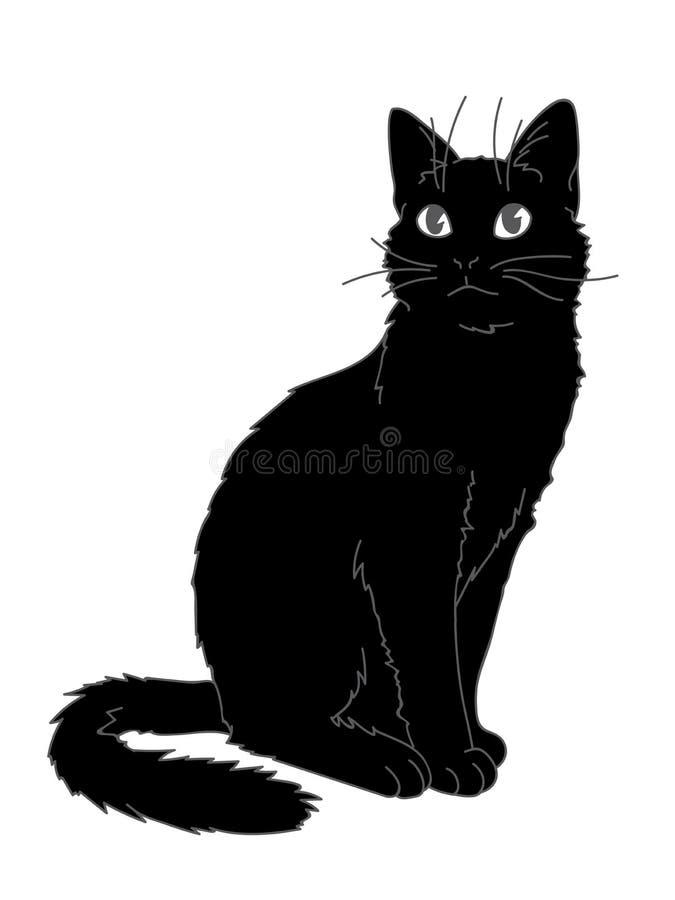 Милое реалистическое усаживание кота Иллюстрация вектора киски смотря вверх Серые линии, черная диаграмма на белой предпосылке бесплатная иллюстрация