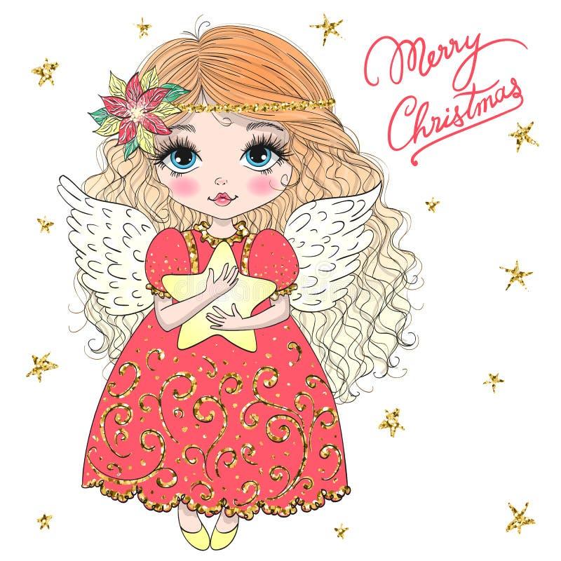 Милое руки вычерченное красивое меньшая девушка ангела рождества с цветком иллюстрация вектора