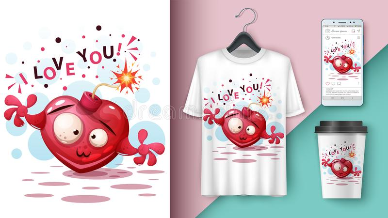 Милое сердце - модель-макет для вашей идеи иллюстрация вектора