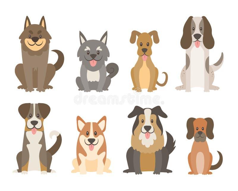 Милое собрание собаки в стиле шаржа иллюстрация вектора