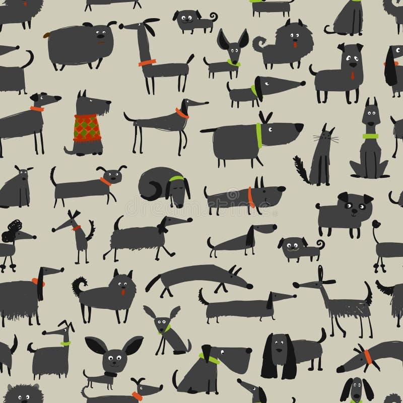 Милое собрание собак, безшовная картина для вашего дизайна иллюстрация штока