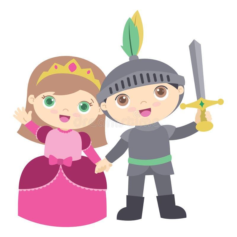 Милое удерживание детей принцессы и рыцаря вручает плоскую иллюстрацию вектора изолированную на белизне иллюстрация вектора