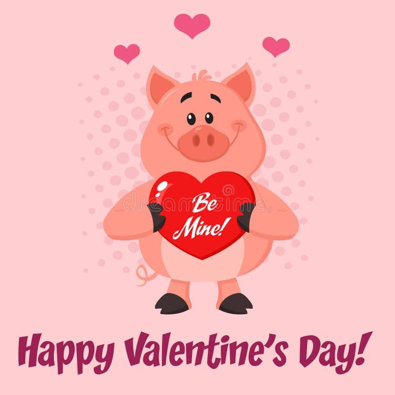 Милое удерживание a персонажа из мультфильма свиньи сердце любов Валентайн шахты бесплатная иллюстрация