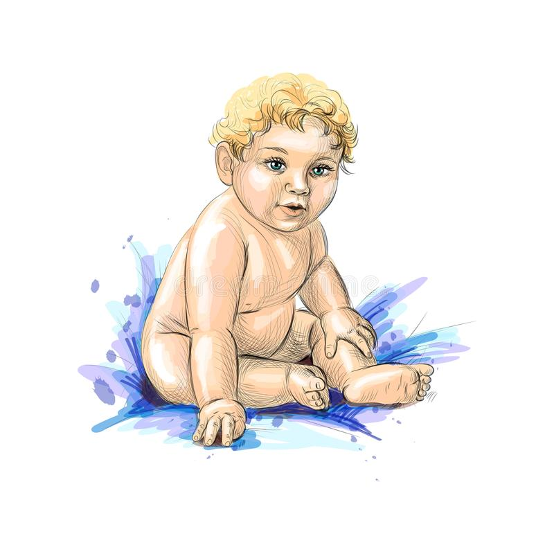 Милое усаживание младенца иллюстрация вектора