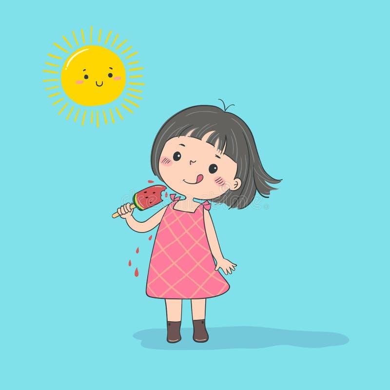 Милое чувство маленькой девочки счастливое с мороженым арбуза в горячем солнечном дне бесплатная иллюстрация