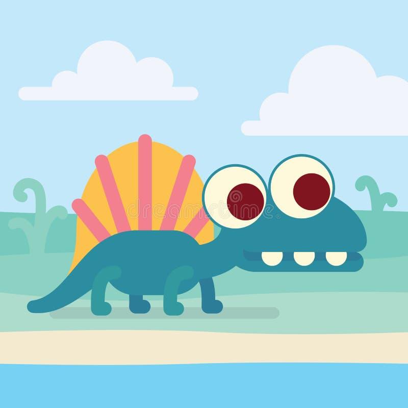 Милое Dimetrodon на береге Животный мир Иллюстрация вектора доисторического изолированного характера в плоском стиле мультфильма бесплатная иллюстрация