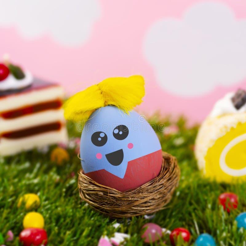 Милое handmade пасхальное яйцо стоковое фото rf