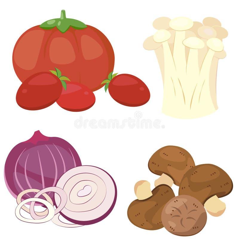 Милое vegetable собрание 01 иллюстрация вектора