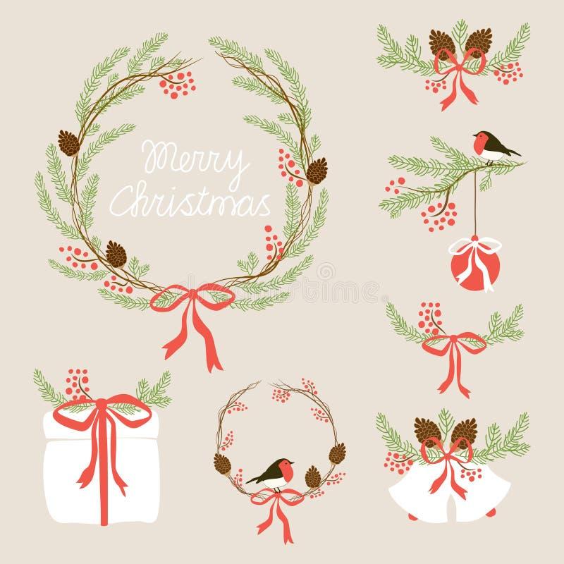 Милой винтажной нарисованное рукой собрание венка праздника рождества флористическое иллюстрация вектора