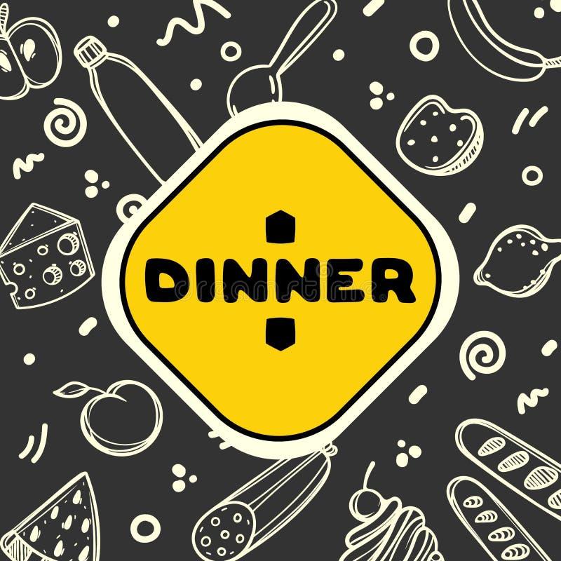 Милой меню нарисованное рукой для кафа на предпосылке еды Линейная иллюстрация иллюстрация вектора