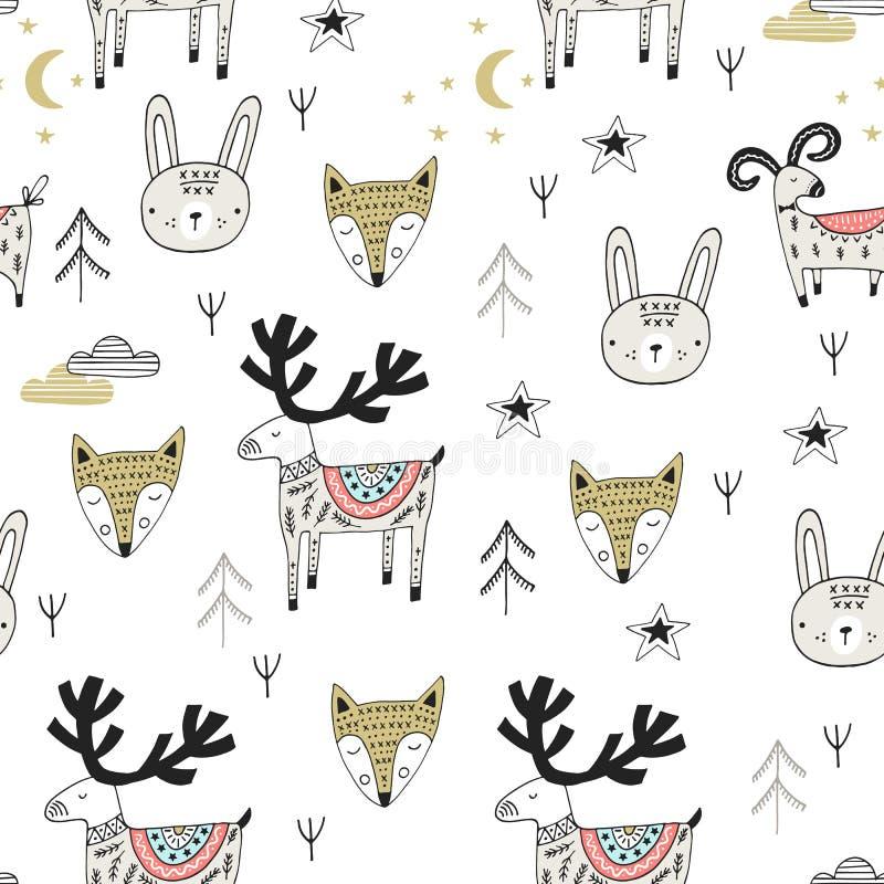 Милой нарисованная рукой картина питомника безшовная с дикими животными в скандинавском стиле также вектор иллюстрации притяжки c иллюстрация вектора