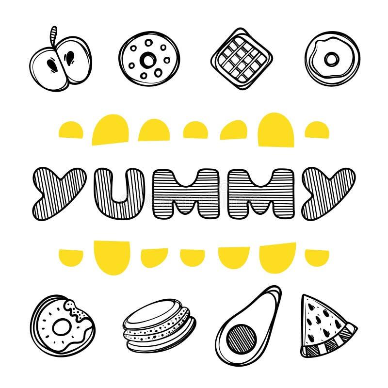 Милой нарисованное рукой меню плаката для кафа с едой десерта и yummy цитатой Линейная иллюстрация иллюстрация штока