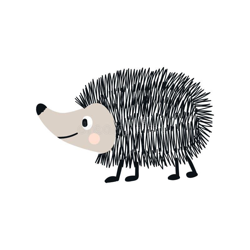 Милой нарисованный рукой плакат питомника с животным ежа Иллюстрация вектора в candinavian стиле иллюстрация вектора