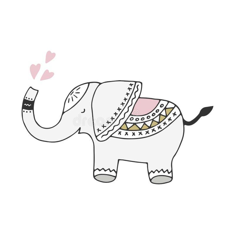 Милой нарисованный рукой плакат питомника с слоном в скандинавском стиле Monochrome иллюстрация иллюстрация вектора