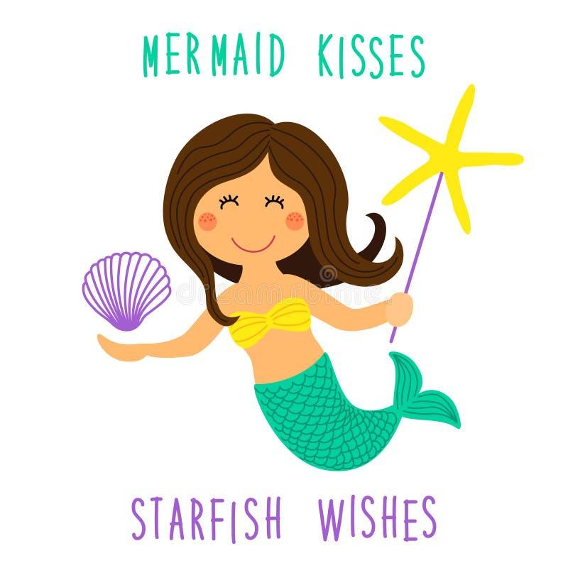 Милой ребяческой персонаж из мультфильма нарисованный рукой маленькой русалки с морскими звёздами моря, раковина и литерность зак иллюстрация вектора