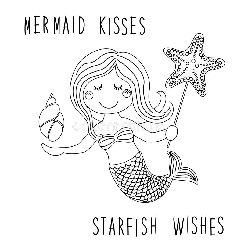 Милой ребяческой персонаж из мультфильма нарисованный рукой маленькой русалки с морскими звёздами моря, раковиной как страница ра бесплатная иллюстрация