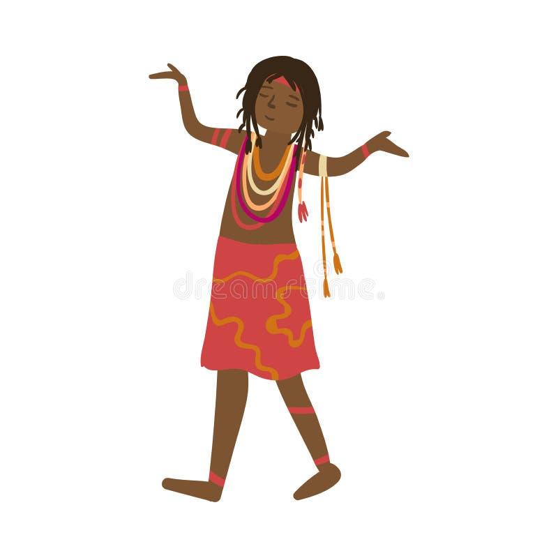 Милые аборигенные женщины в красочном красном платье и африканских ювелирных изделиях иллюстрация вектора
