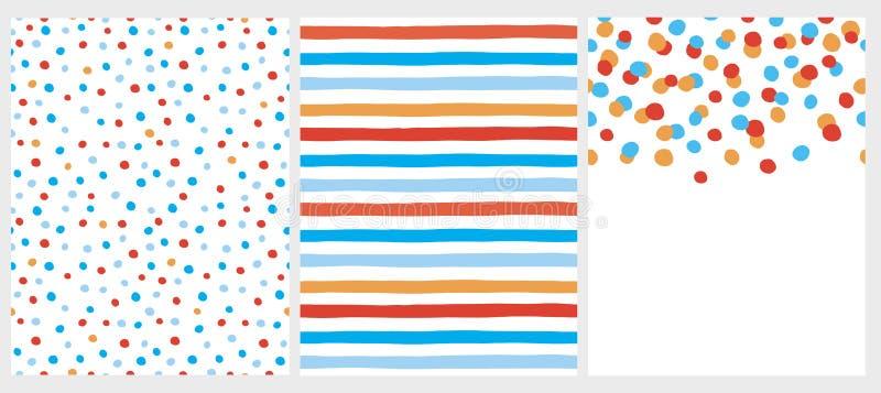 Милые абстрактные картины и план вектора Белое, оранжевое, голубое и красное Desing иллюстрация вектора