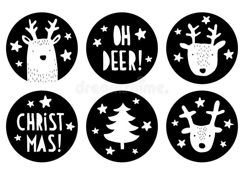 Милые бирки вектора рождества округлой формы Черно-белый простой ребячий дизайн иллюстрация штока