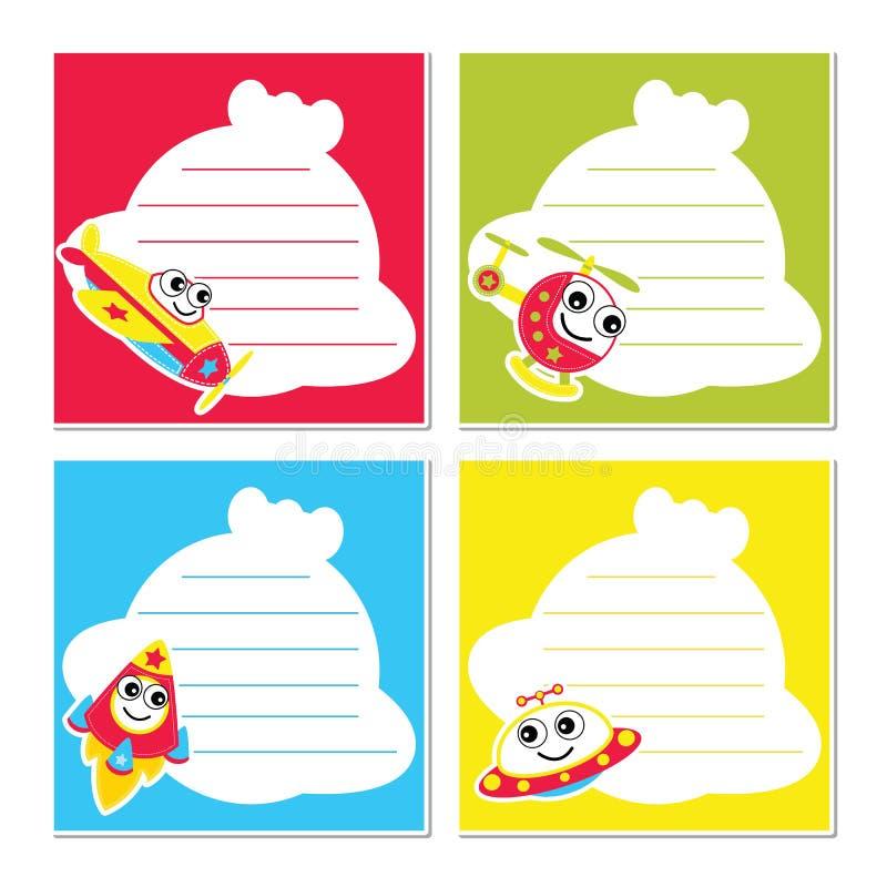 Милые воздушные перевозки на красочной иллюстрации шаржа вектора рамки для дизайна бумаги памятки ребенк бесплатная иллюстрация