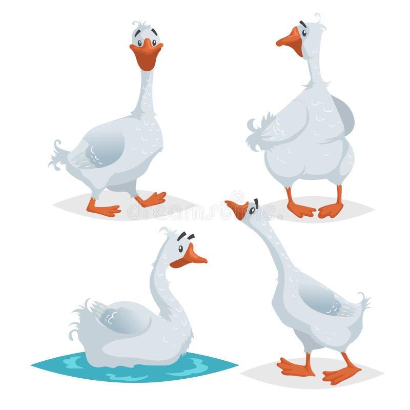 Милые гусыни в различных представлениях Собрание птиц животноводческих ферм стиля мультфильма плоское Идущ, стоящ, плавая гусыня  бесплатная иллюстрация